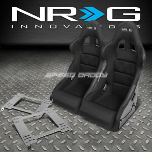 Nrg Pair Black Bucket Racing Seats Stainless Steel Bracket For 94 01 Integra Dc