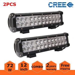2x 12inch 72w Led Light Bar Off road Combo Ford 4wd Suv Jeep Truck Lamp Fog Rzr