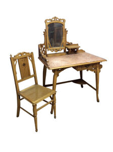 Vintage Art Nouveau Vanity Dressing Table With Chair Great Inlays