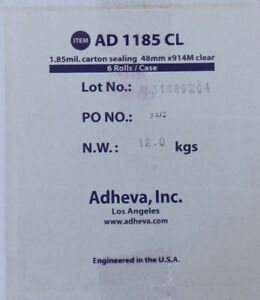 Adheva Ad1185 48mm Wide 1 85mil Thick 914m Long Clear Shipping Tape 6 Rolls