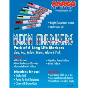 Aarco Products Mfl 6 Dry Erase Neon Makers 6 Pack