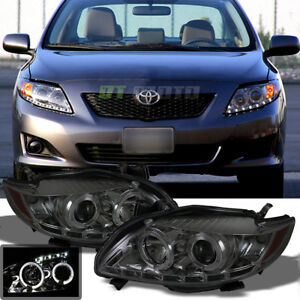 For Smoked 2009 2010 Toyota Corolla Halo Projector Headlights W Daytime Drl Led