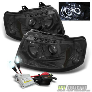 6k Slim Xenon Hid smoke 03 06 Ford Expedition Dual Halo Led Projector Headlights