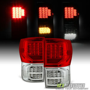 For 2007 2013 Toyota Tundra Red Clear Full Led Tail Lights Brake Lamp Pair L R