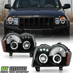 Blk 2005 2007 Jeep Grand Cherokee Led Dual Halo Projector Headlights Left right