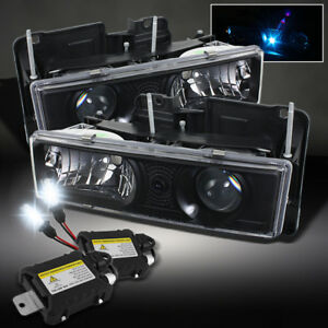 88 98 Silverado Suburban 94 00 Tahoe Projector Black Head Lights Slim 6000k Hid