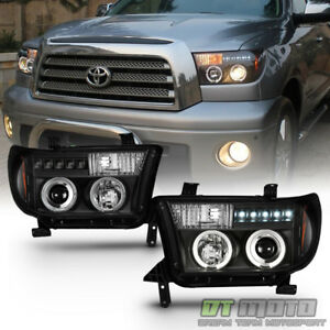 For Blk 2007 2013 Toyota Tundra 08 17 Sequoia Led Drl Projector Headlights Lamp