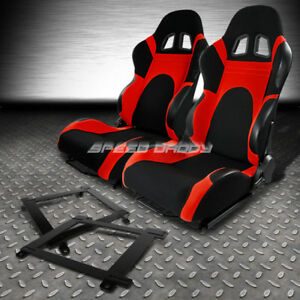 Black Red Trim Reclinable Racing Seat Low Mount Bracket For 93 02 Chevy Camaro
