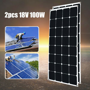 200w 2x 100w Flexible Solar Panel Sunpower 18v Battery Charger Boat Roof Rv Car