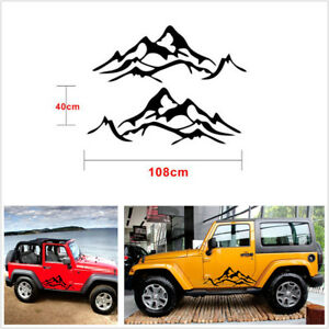 2pc Black Vinyl Mountain Graphic Car Side Fender Decal Sticker For Jeep Wrangler