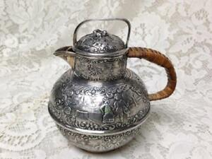 Antique Rare Barbour Repousse Silver Plated Teapot W Wicker Handle 6intx6inw