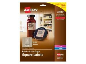 Avery Square Print to the edge Labels 2 X 2 Kraft Brown 300 pack 22846