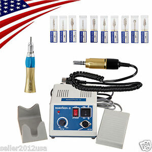 Marathon Dental Lab Electric Micro Motor Straight Handpiece 10 burs 35k Usa