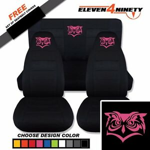 1987 1995 Jeep Wrangler Yj Black Seat Covers Custom Owl Logo Choose Color