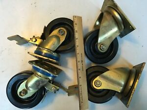 4 Bassick Swivel Plate Caster Wheels 2 With Brakes 5 X 2 lot Of 4 Usa