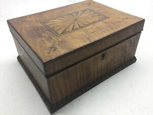 Antique Tiger Maple Mahogany And Satinwood Inlay Jewelry Box