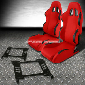 Red Cloth Black Reclinable Racing Seats Bracket For 98 02 Honda Accord 2dr Coupe