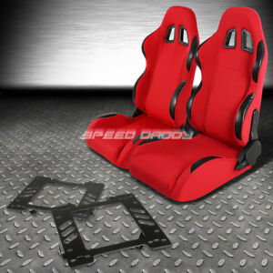Pair Type 4 Reclining Red Pvc Racing Seat bracket For 99 04 Ford Mustang Sn 95