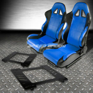 2 X Blue black Pvc Leather Racing Seats bracket For 67 69 Chevy Camaro firebird