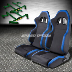 2x Blue Trim Sports Fabric Racing Seats universal Slider 4pt Harness Green Belts