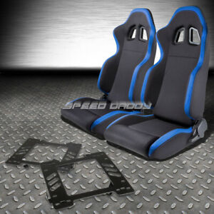 2x Blue Trim Sports Fabric Racing Seats bracket For 99 04 Ford Mustang Sn95 Pony