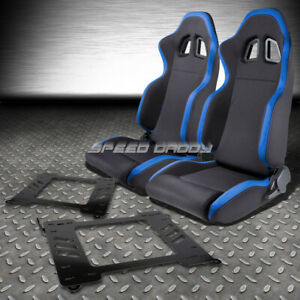 2x Blue Trim Sports Fabric Racing Seats Bracket For 99 05 Bmw E46 3 Series M3