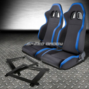 2x Blue Trim Sports Fabric Racing Seat Low Mount Bracket For 93 02 Chevy Camaro