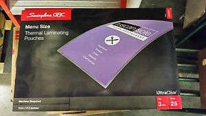 Lot Of 2 25 Pack Swingline Menu Size Thermal Laminating Pouches 50 Total