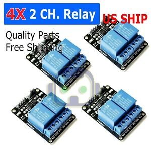 4 Pcs 2 Channel Dc 5v Relay Switch Module For Arduino Raspberry Pi Arm Avr Dsp