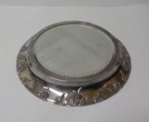 Antique Silver Plate Table Plateau Embossed Flowers Mirror Top