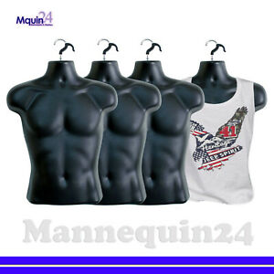 4 Mannequin Male Lot Of 4 Black Plastic Male Hanging Dress Forms With 4 Hooks