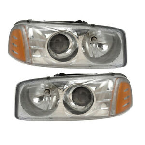Headlights Pair Fits Gmc Sierra Denali Yukon Denali xl Projector W xenon Bulbs