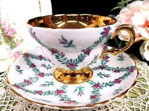 Rosina Tea Cup And Saucer Pink Roses Gold Band Teacup Waisted Shape Rose Swag