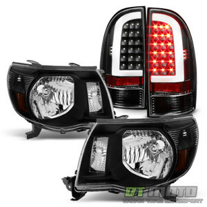 For 2005 2011 Toyota Tacoma Blk Replacement Headlights Light Tube Led Tail Lamp