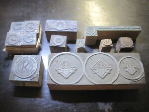 Lot Of 12 Vtg Antique Club Association Letterpress Printer s Blocks Stamps