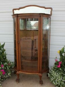 Quartersawn Oak 3curve Glass Clawfoot China Display Cabinet Bevel Mirror Antique