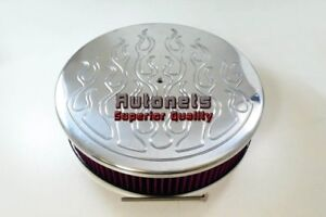 14 Round Flamed Polished Aluminum Air Cleaner Washable Element Filter Hot Rod