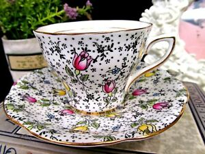 Rosina Tea Cup And Saucer Chintz Painted June Rose Pattern Teacup