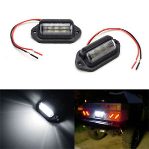 2pcs Universal 6 Smd Led License Plate Tag Light Lamps For Suv Truck Trailer Van