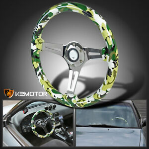 350mm Sport Racing 3 Spoke Wood Camo Green Camouflage 2 Deep Dish Steering Wheel