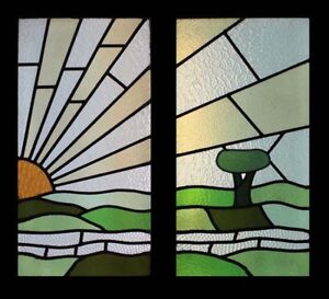 Rare English Art Deco Sunburst Over The Hills Pair Stained Glass Windows