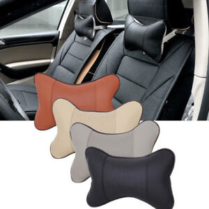 Car Seat Headrest Pad Memory Foam Leather Head Neck Rest Cushion Pillow Cover