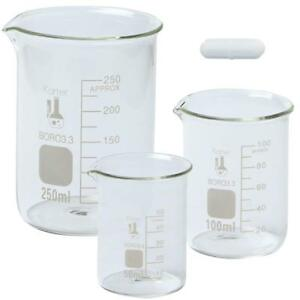 Boro Glass Low Form Beaker Set With Magnetic Stir Bar 3 Sizes 50 100 250ml