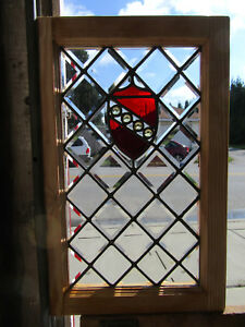 Antique Beveled Jeweled Stained Glass Window 17 5 X 27 5 Salvage