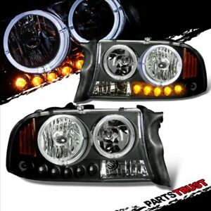 1997 2004 Dodge Dakota 1998 2003 Durango Black Led Dual Halo Headlights Pair