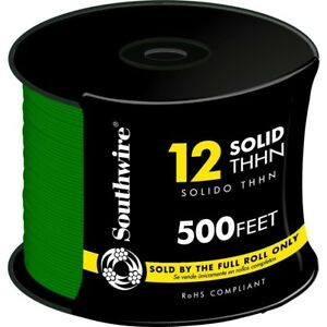Cu Thhn Wire Solid Building Conductor Electrical Copper Wires Green 12awg 500ft