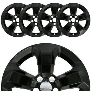 4 Black 2018 19 Jeep Compass Latitude 17 Wheel Skins Hub Caps Alloy Rim Covers