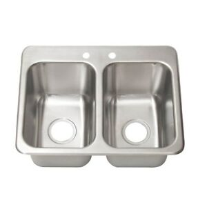 Bk Resources Two Compartment 24 x18 Stainless Steel Drop in Sink