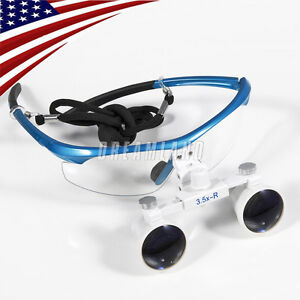 Dental Surgical Medical Binocular Loupes 3 5x Optical Glass For Dentist Blue Hy7