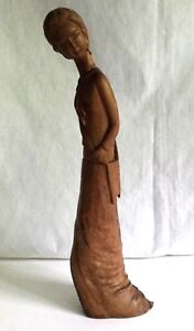 Vintage Chinese Hand Carved Wooden Figural Sculpture Woman In Long Dress 13